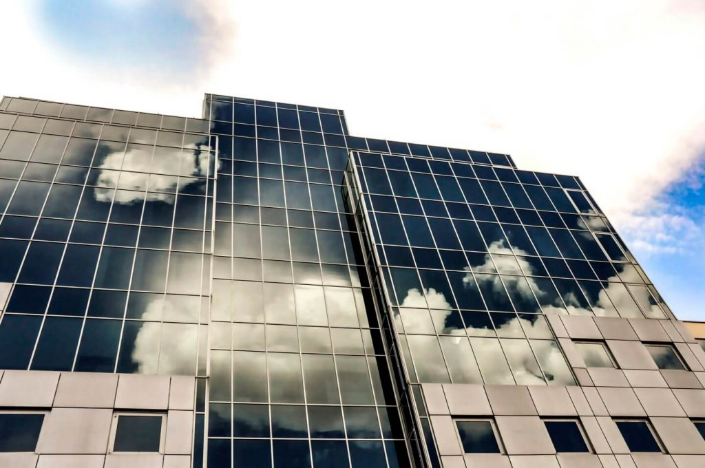 Commercial building with solar film windows